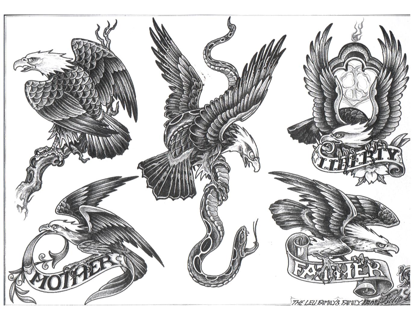 Grey Ink Eagle Tattoos Designs