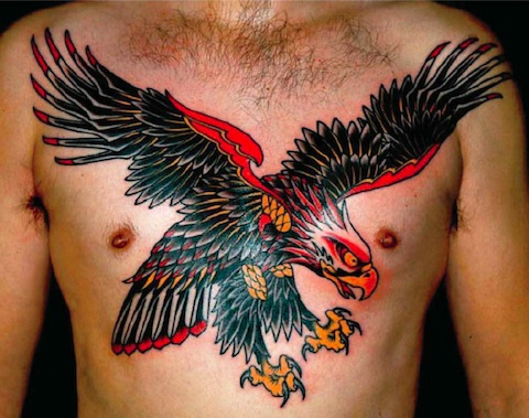 Landing Eagle Tattoo On Man Chest