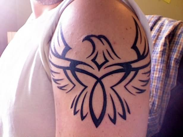 Left Shoulder Tribal Eagle Tattoo