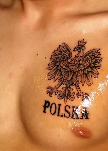 Polska Eagle Tattoo On chest