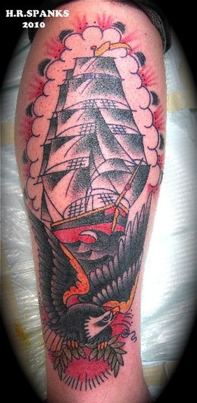Ship And Eagle Colored Tattoo