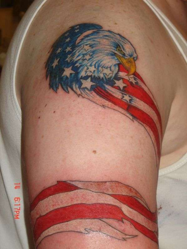 Usa Flag And Eagle Head Tattoo On Half Sleeve