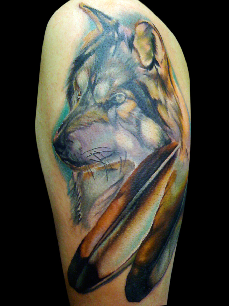Wolf Head And Eagle Feather Tattoo On Half Sleeve