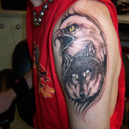 Wolf Head And Eagle Tattoo On Left Shoulder