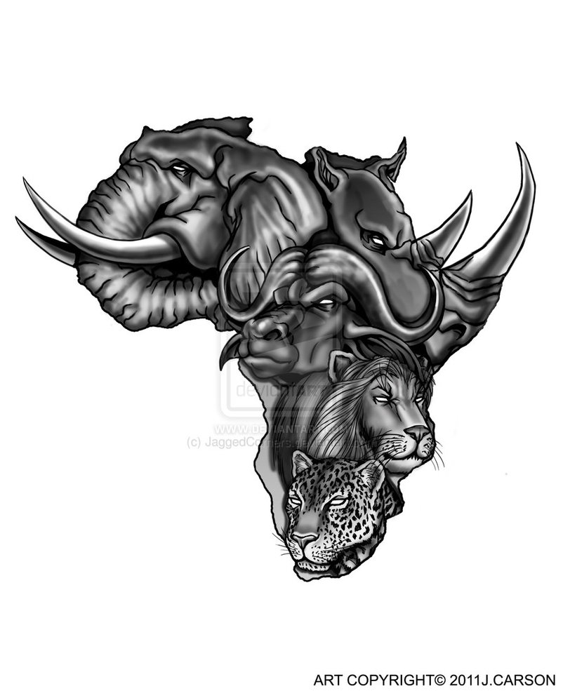 399945912f894 African Animals Face Tattoo