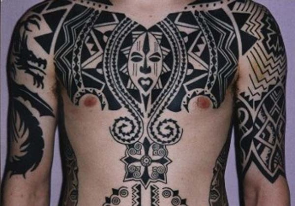 Black African Tribal Tattoo On Chest