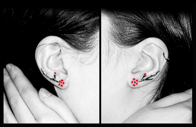 9d33a9303c5ce Fine Cherry Blossom Flowers Ear Tattoo