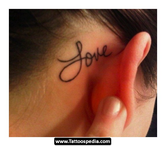 Love Tattoo Behind Ear For Girls