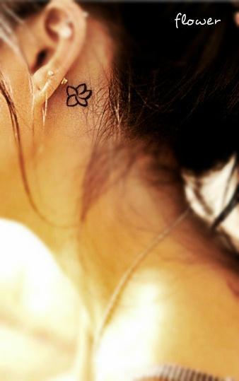 Small Black Flower Tattoos: Small Black Flower Ear Tattoo