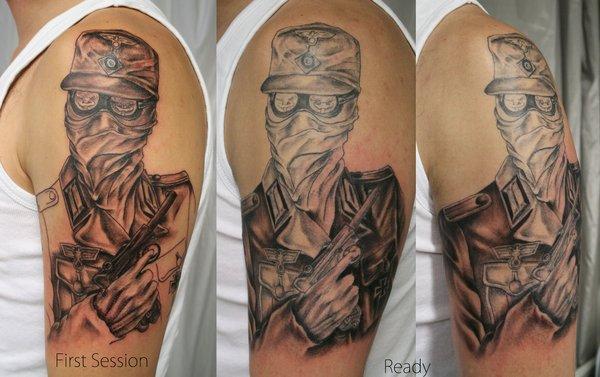 African Tribal Tattoo Half Sleeve: African Soldier Tattoo On Left Half Sleeve