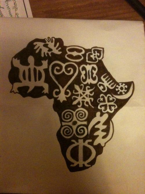 Amazing Black African Map Tattoo With Symbols Design
