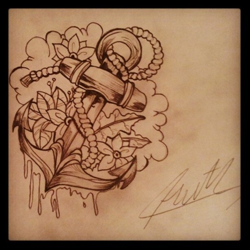 Amazing flowers and anchor tattoo design for Anchor with flowers tattoo