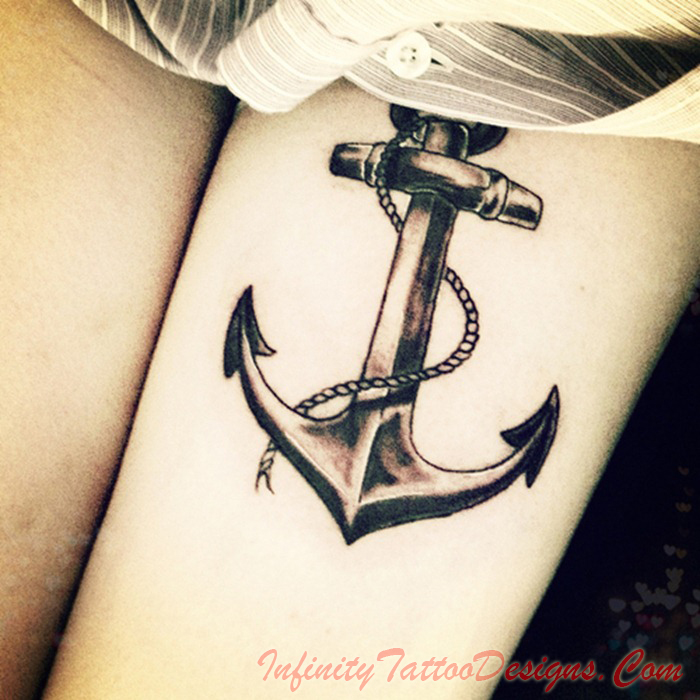 Anchor Tattoo On Left Thigh