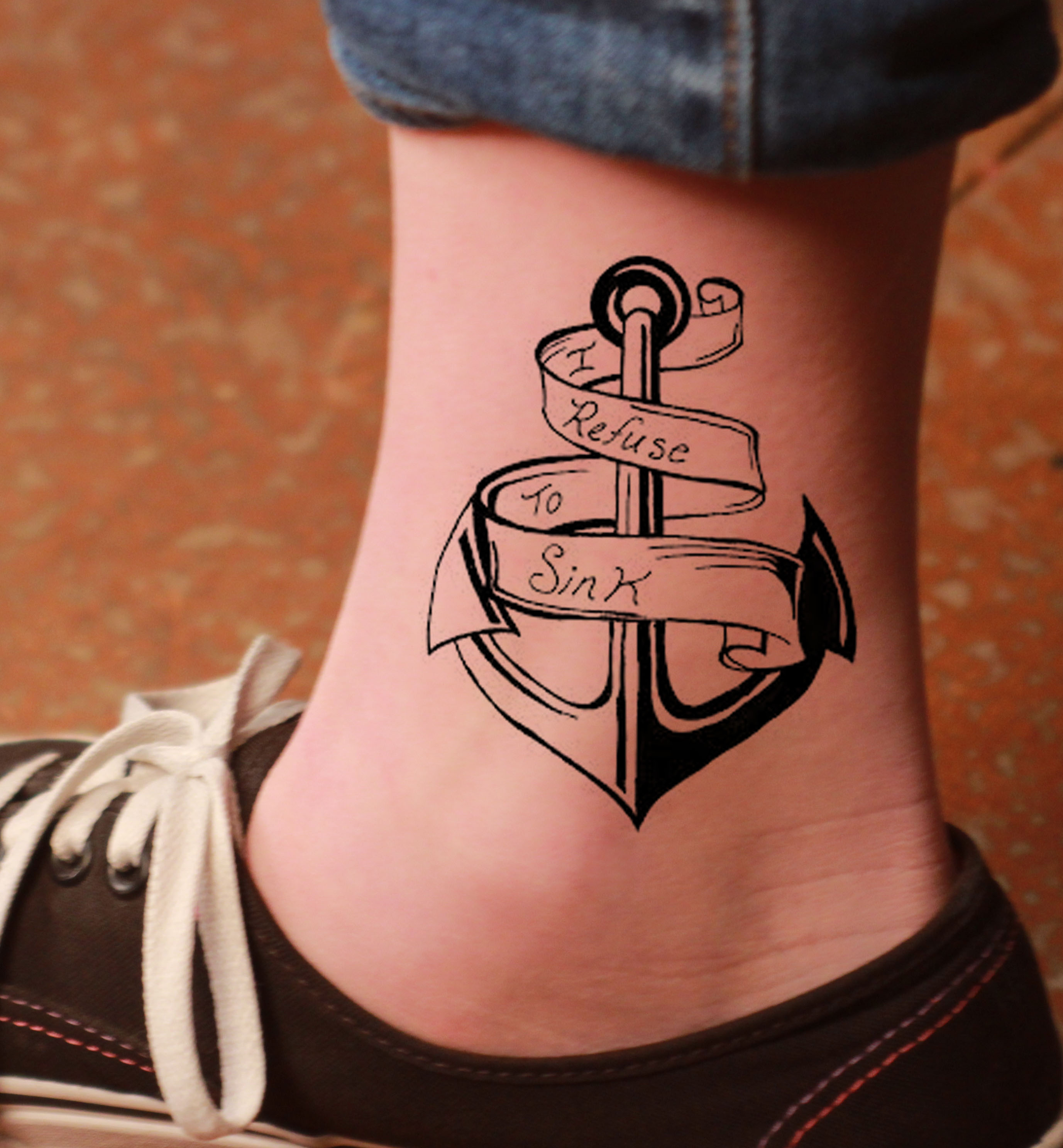 Anchor tattoo with banner on ankle buycottarizona Images