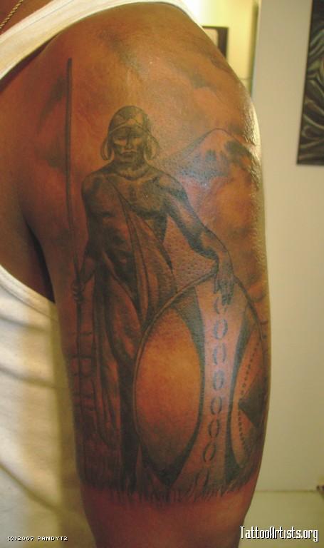 African Tribal Tattoo Half Sleeve: Attractive African Warrior Tattoo On Left Half Sleeve