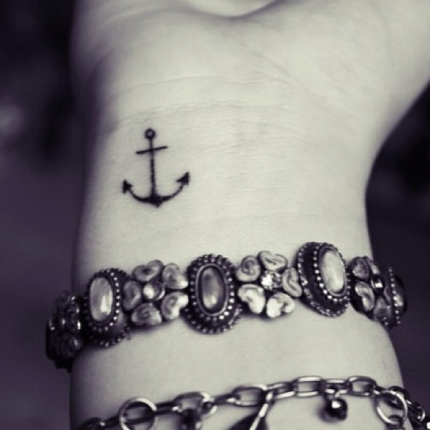 Attractive Cute Small Anchor Tattoo On Wrist