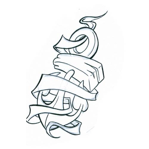 Banner And Anchor Tattoo Design