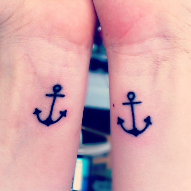 Sister Anchor Tattoos Beautiful black anchor tattoos