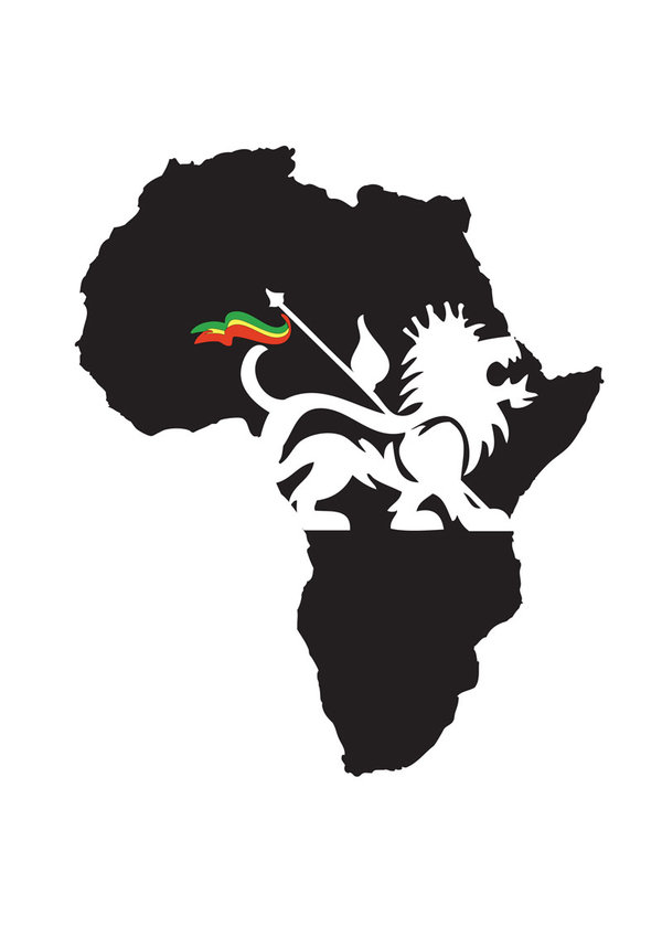 African Map And Lion Tattoo Design