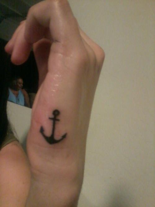 9dda97054 Black Ink Anchor Tattoo On Right Hand