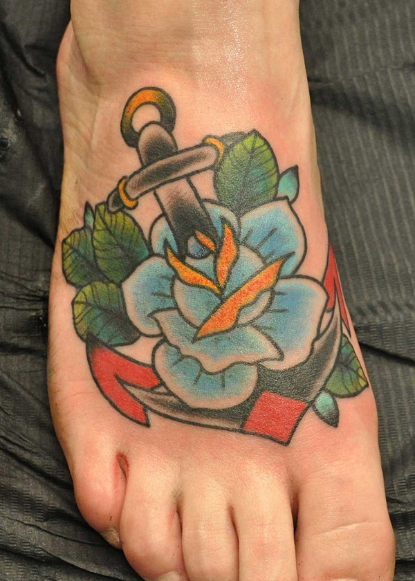 Blue rose and anchor tattoo on right foot for Anchor rose tattoo
