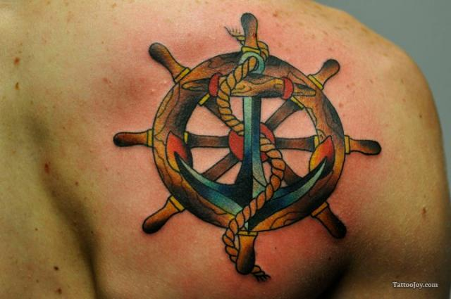 1824fbfc9 Compass And Anchor Tattoo On Back Shoulder