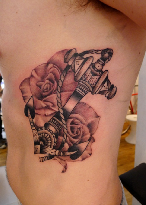 Flowers And Anchor Tat...