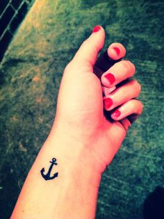 Small Anchor Wrist Tattoo For Girls