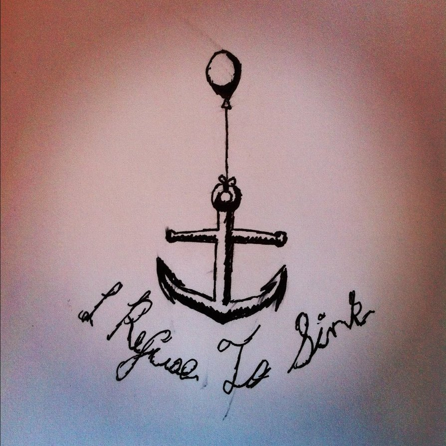 Refuse To Sink Anchor And Ribbon MS Fighter Tattoo On Right Foot