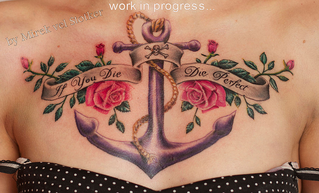In you die die perfect banner with rose flowers and anchor for Anchor with flowers tattoo