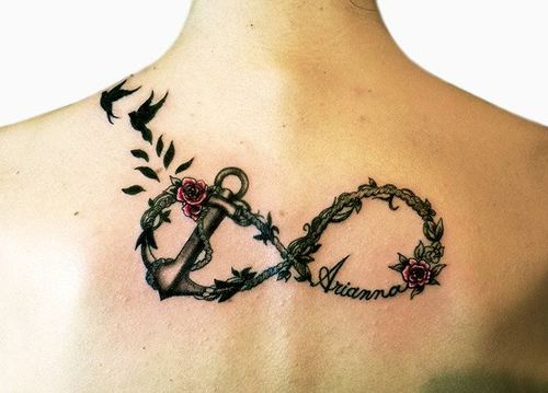 Infinity Anchor Tattoo On Upperback