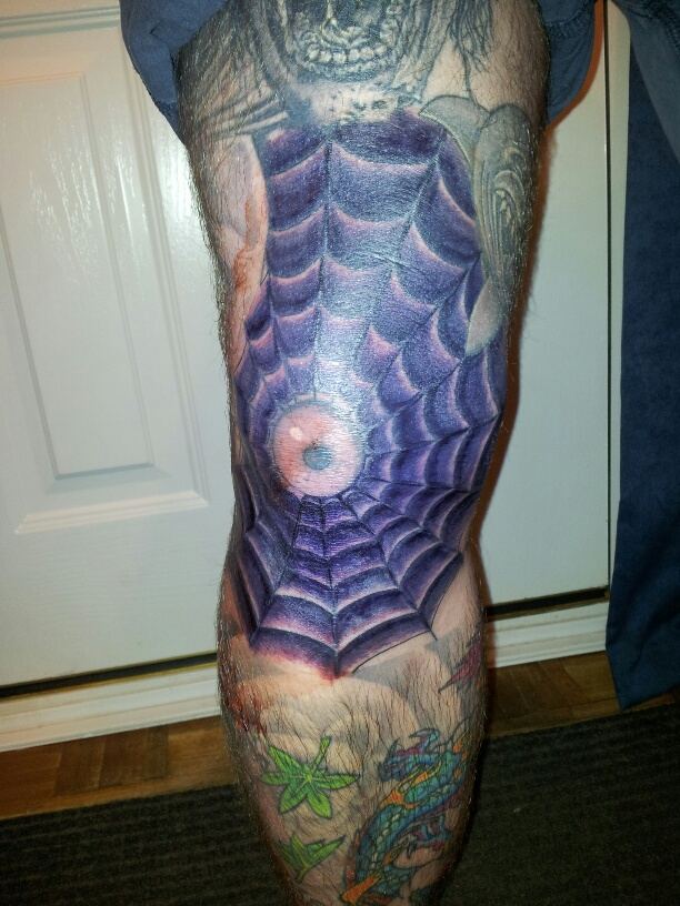 Purple Ink Spider Web Tattoo On Knee