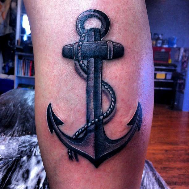 Realistic Anchor Tattoo