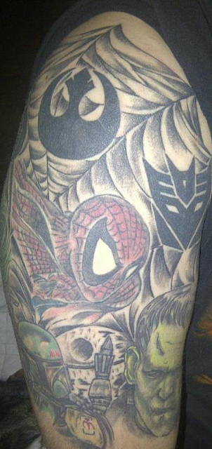 Spider Man Geek Tattoo On Sleeve