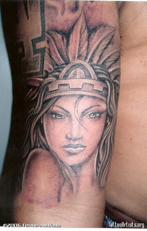 Aztec Mexican Girl Tattoo On Left Half Sleeve