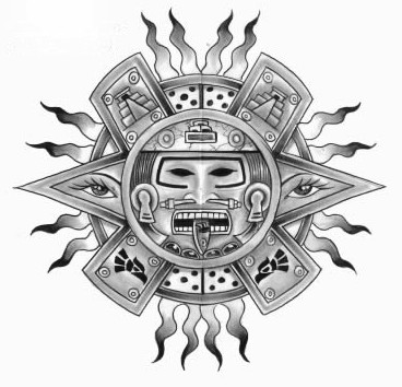 aztec flaming sun tattoo design. Black Bedroom Furniture Sets. Home Design Ideas
