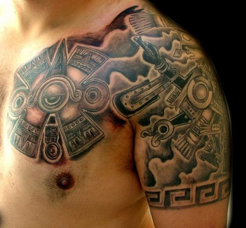 Aztec Tattoo On Chest And Left Shoulder