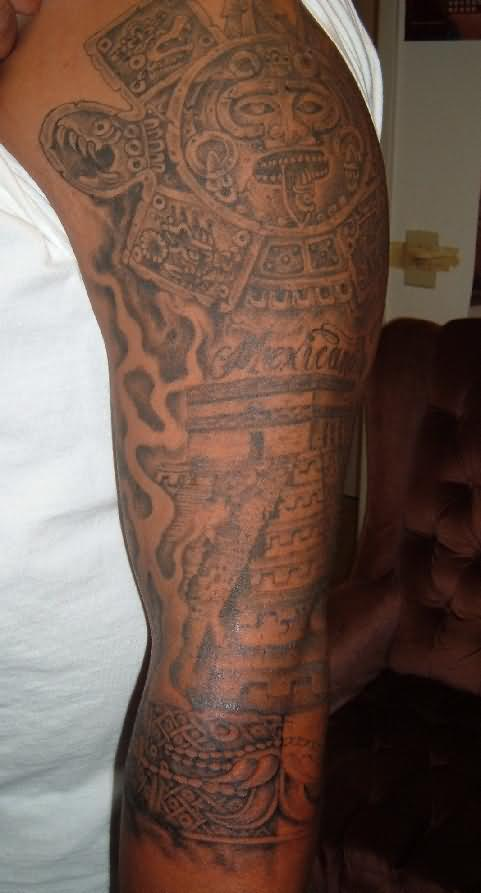 aztec tattoo on man left sleeve. Black Bedroom Furniture Sets. Home Design Ideas