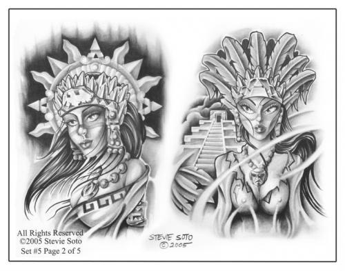 Aztec Warrior Girls Tattoos Design