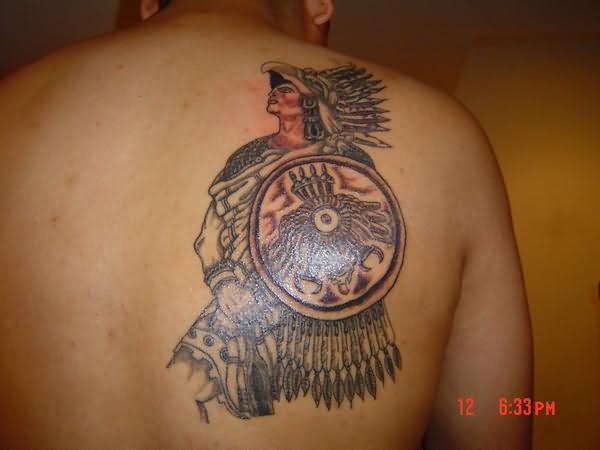 Aztec Warrior Tattoo On Man Back Shoulder