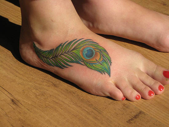 beautiful colored peacock feather tattoo on right foot. Black Bedroom Furniture Sets. Home Design Ideas