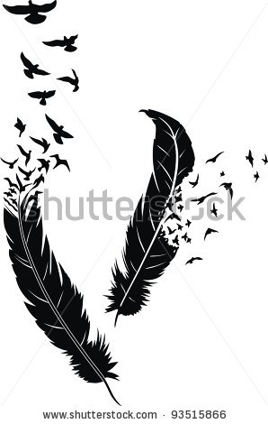 Black Feathers And Flying Birds Tattoo Design