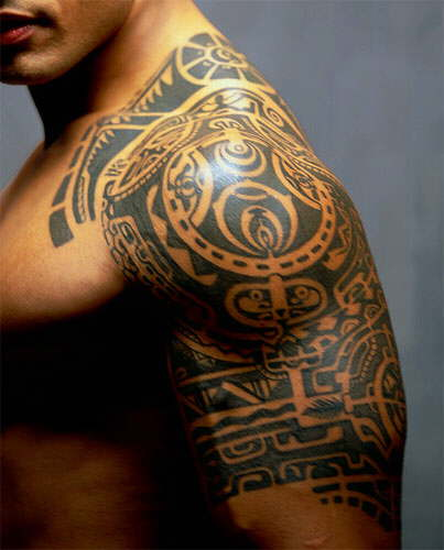 classic aztec tattoo on man left half sleeve. Black Bedroom Furniture Sets. Home Design Ideas