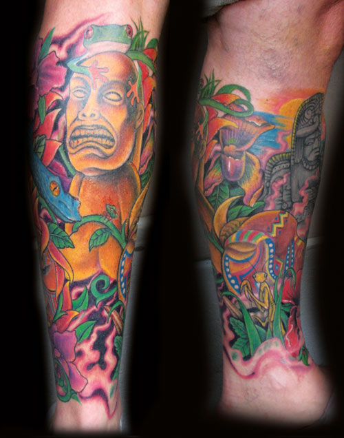 Colored Aztec Tattoo On Sleeve