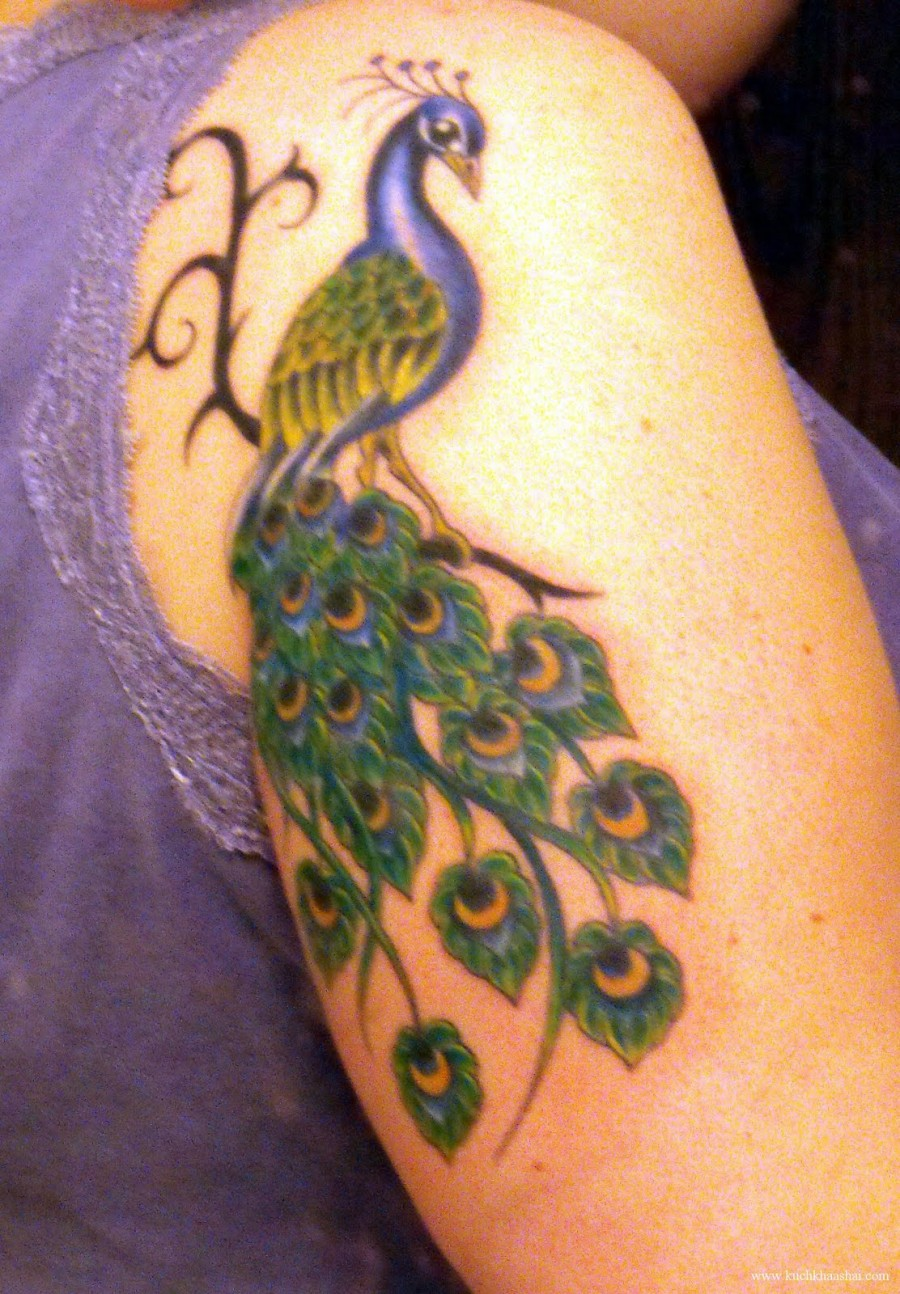 Colorful Peacock Feather Tattoo Colored peacock feather cool