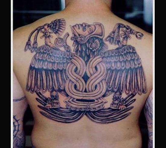 Cute Grey Ink Aztec Upperback Tattoo