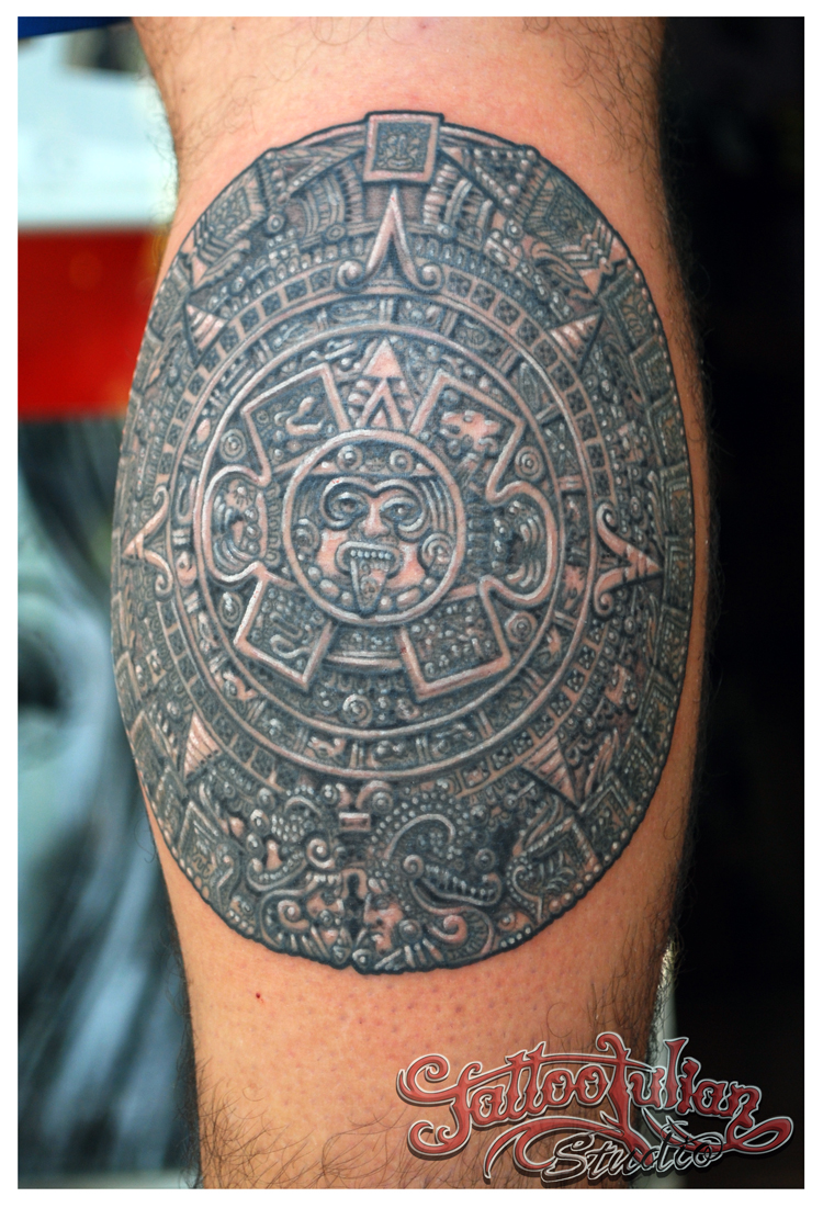 Dark Grey Ink Aztec Tattoo