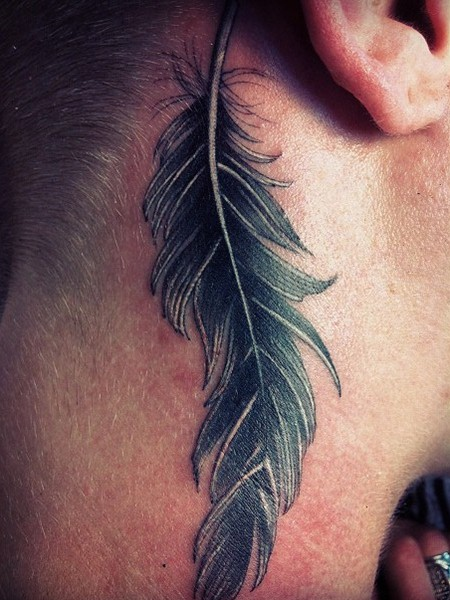 Feather tattoo images designs for Side neck tattoos