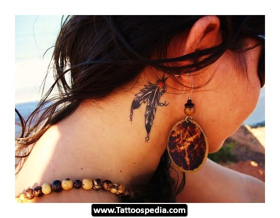 Feathers tattoos behind ear for Small behind the ear tattoos for girls