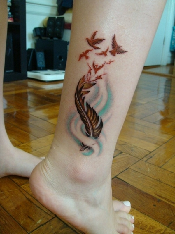 Feather Tattoo On Girl Left Ankle